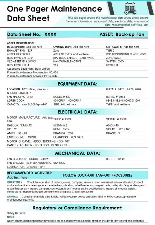 One Pager Maintenance Data Sheet Presentation Report Infographic PPT PDF Document