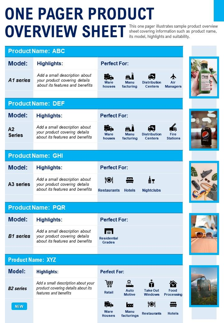 One Pager Product Overview Sheet Presentation Report Infographic PPT PDF Document