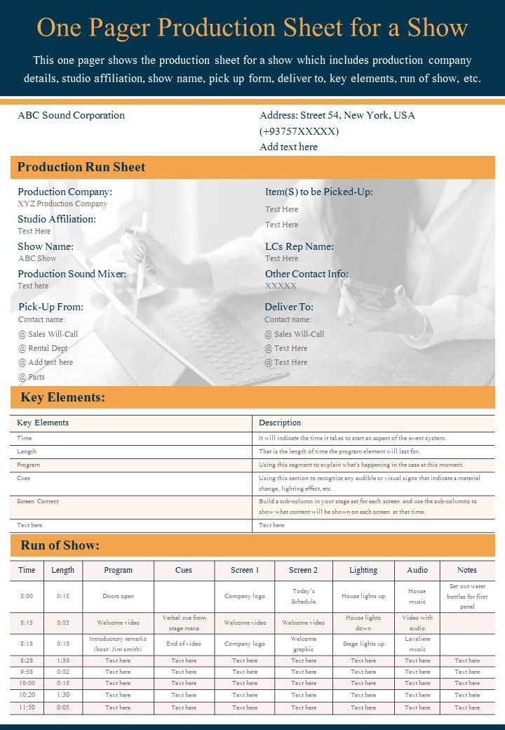 One Pager Production Sheet For A Show Presentation Report Infographic PPT PDF Document