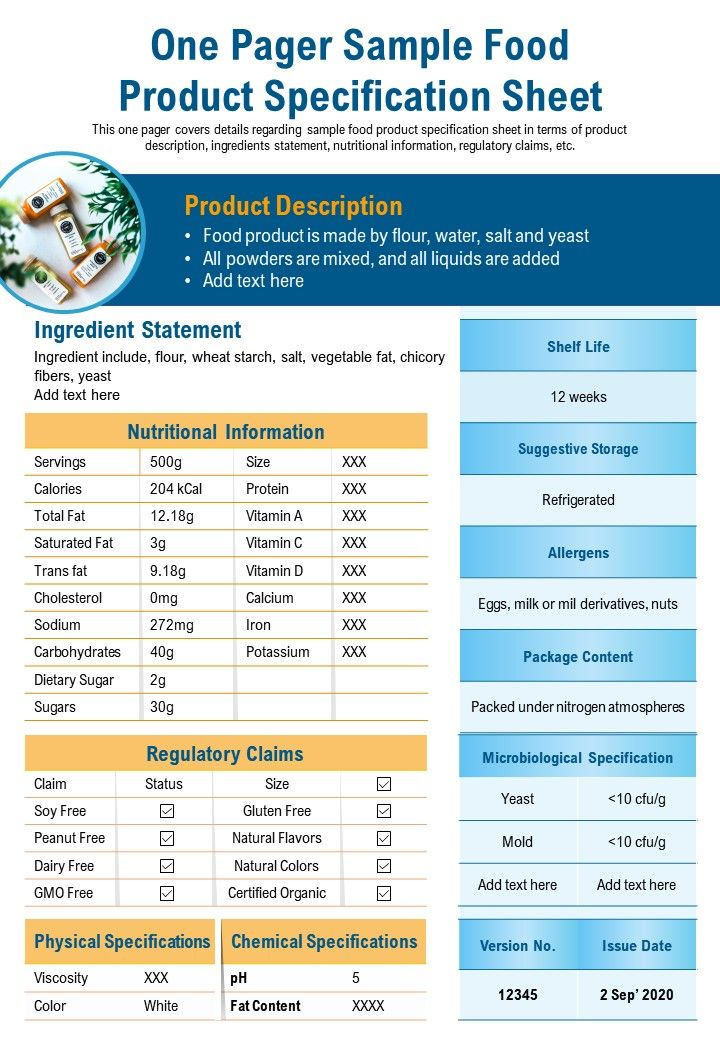 One Pager Sample Food Product Specification Sheet Presentation Report Infographic PPT PDF Document