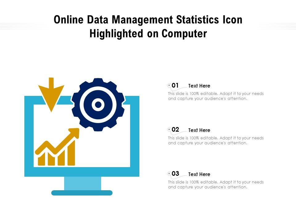 Online Data Management Statistics Icon Highlighted On Computer