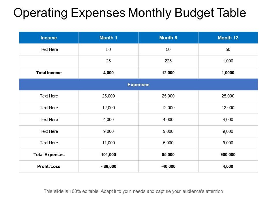 operating expenses monthly budget table powerpoint presentation