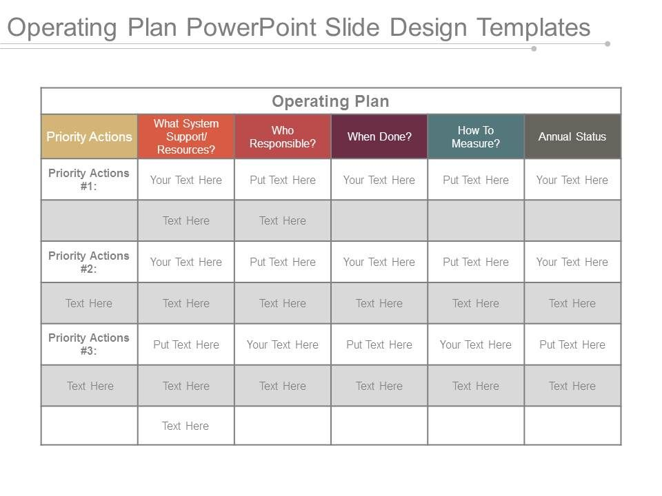 Operating Plan Powerpoint Slide Design Templates  Powerpoint Slide