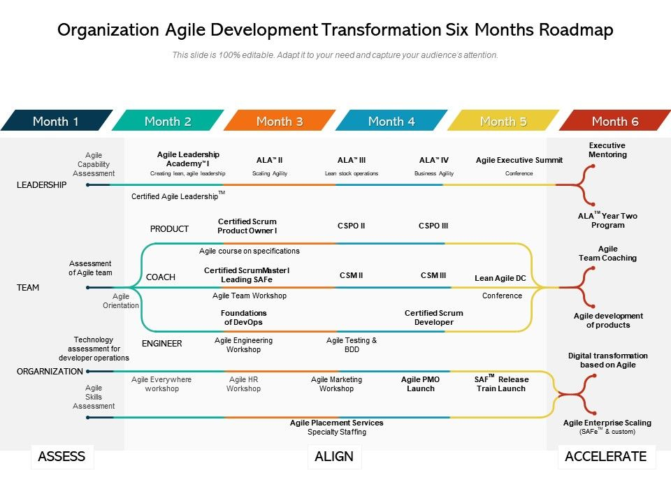 Organization Agile Development Transformation Six Months Roadmap