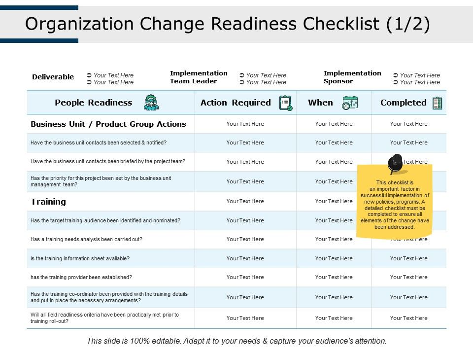 Organization Change Readiness Checklist People Readiness