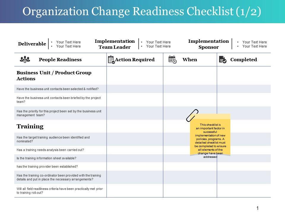 Organization Change Readiness Checklist Presentation