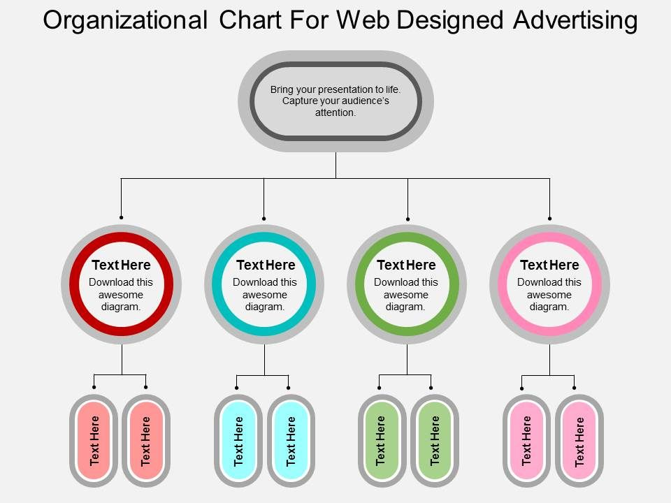 Organizational Chart For Web Design And Advertising Flat Powerpoint Design Powerpoint Slide Images Ppt Design Templates Presentation Visual Aids