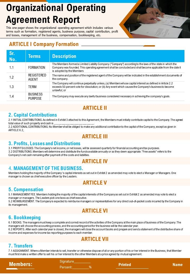 Organizational Operating Agreement Report Presentation Report Infographic PPT PDF Document