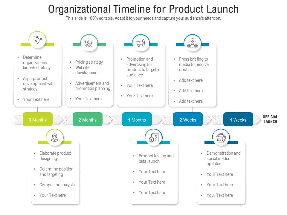 Organizational Timeline For Product Launch