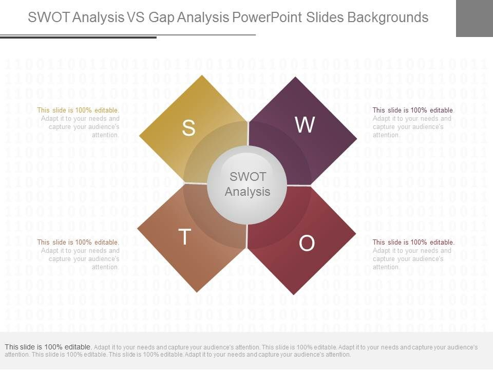 original swot analysis vs gap analysis powerpoint slides, Presentation templates