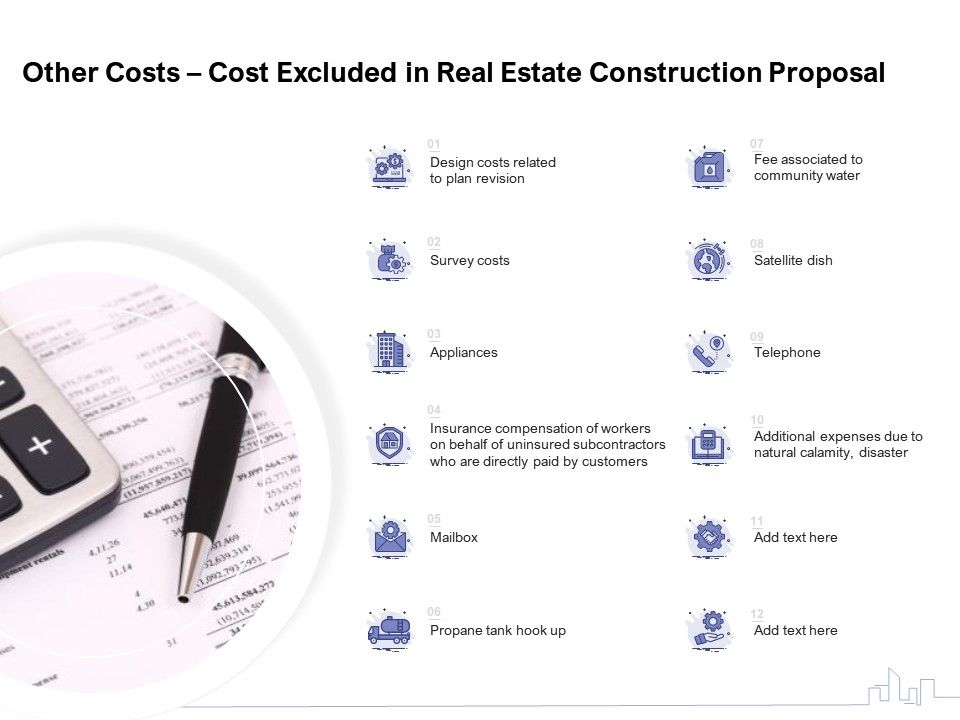 Other Costs Cost Excluded In Real Estate Construction Proposal Ppt Powerpoint Presentation Topics