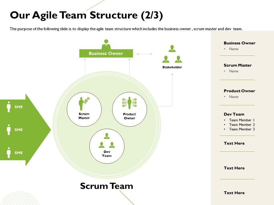 Our Agile Team Structure Business Owner Ppt Powerpoint Presentation Design Ideas