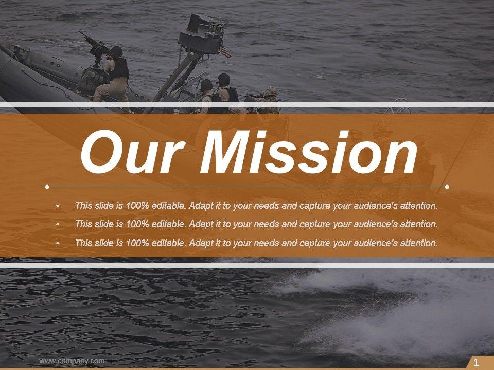 our mission navy image slide ppt slides powerpoint slide templates