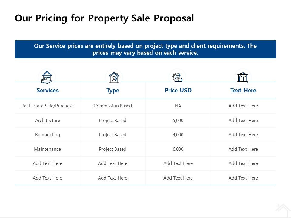 Our Pricing For Property Sale Proposal Ppt Powerpoint Presentation Inspiration