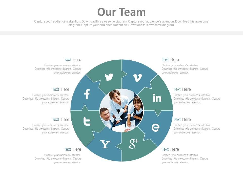 our_team_with_social_media_communication_puzzle_chart_powerpoint_slides_Slide01