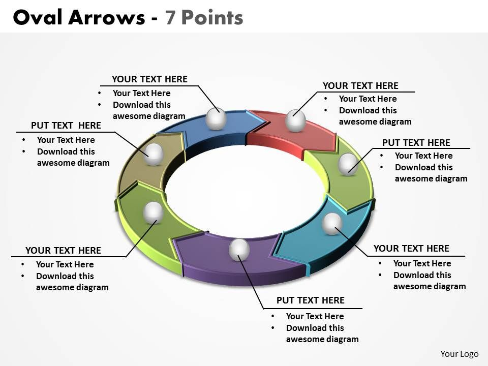 Oval Arrows 7 Points Powerpoint Diagram Templates Graphics