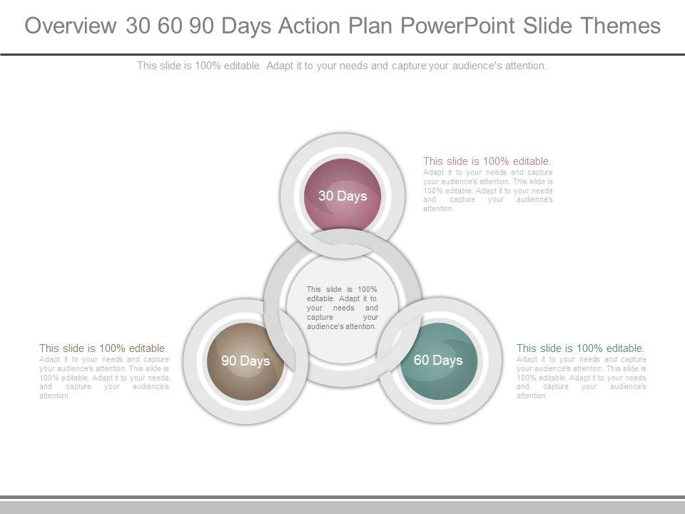 Overview 30 60 90 Days Action Plan Powerpoint Slide Themes