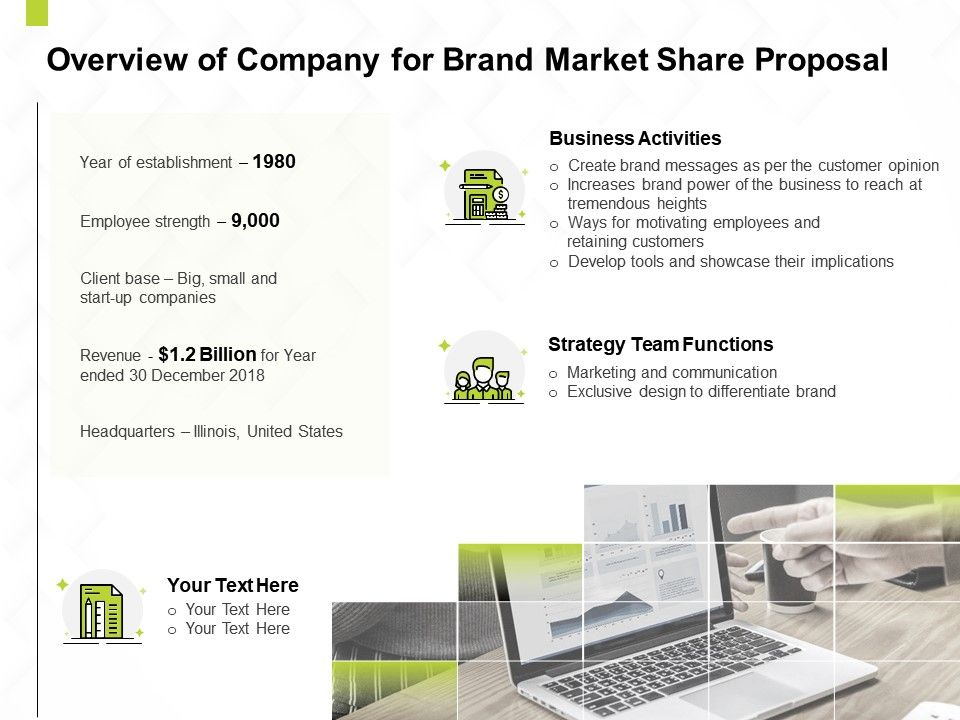Overview Of Company For Brand Market Share Proposal Ppt Powerpoint Presentation Model