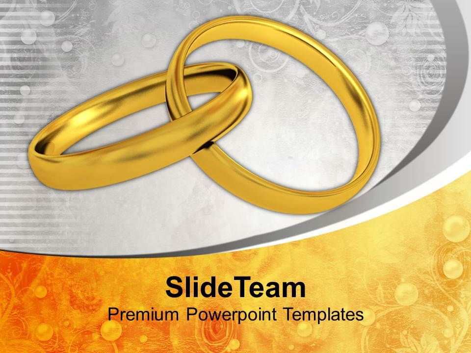 pair of golden rings wedding powerpoint templates ppt backgrounds