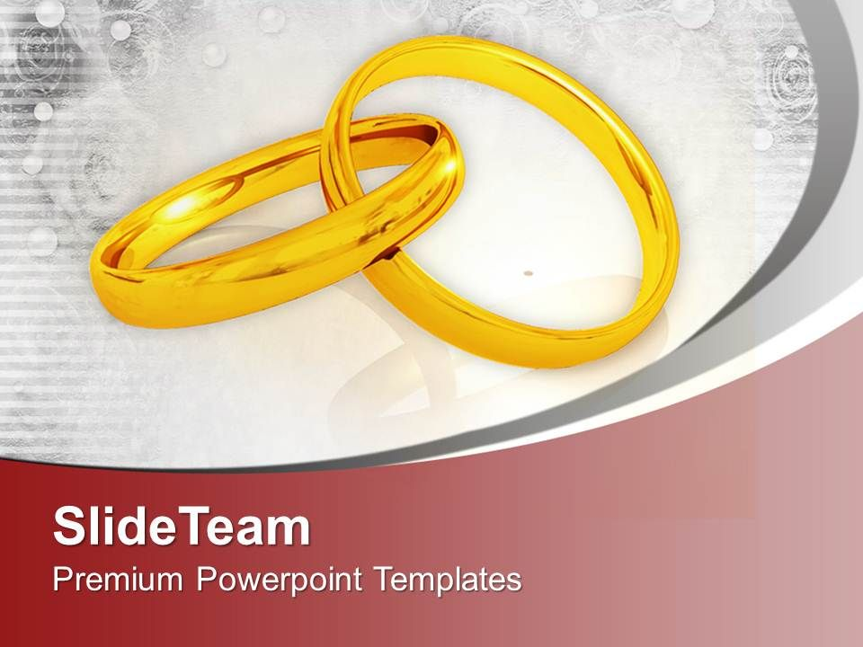 Pair Of Golden Wedding Rings PowerPoint Templates PPT Themes And