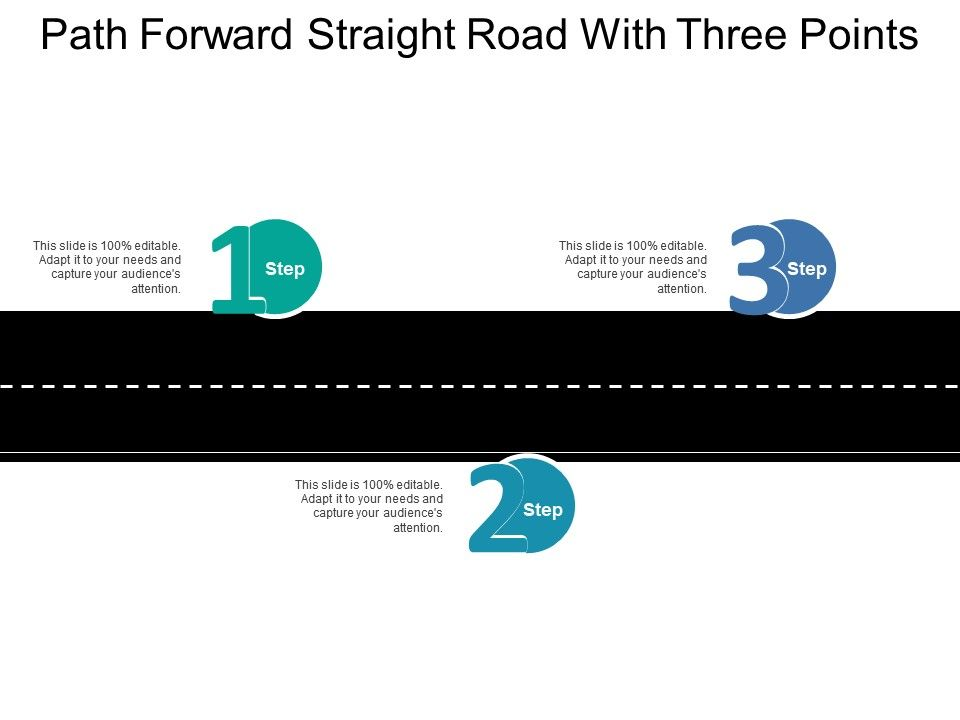 path forward straight road with three points