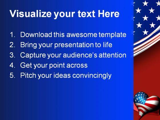 patriotic love heart americana powerpoint template 1010, Modern powerpoint