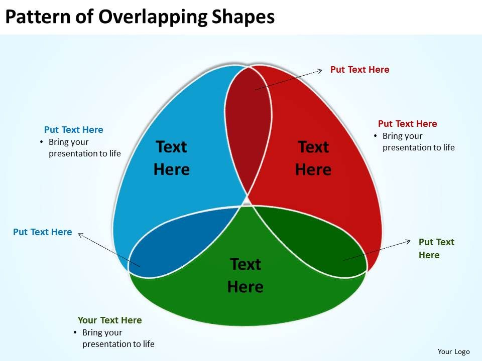 pattern of overlapping shapes shown as venn powerpoint diagram