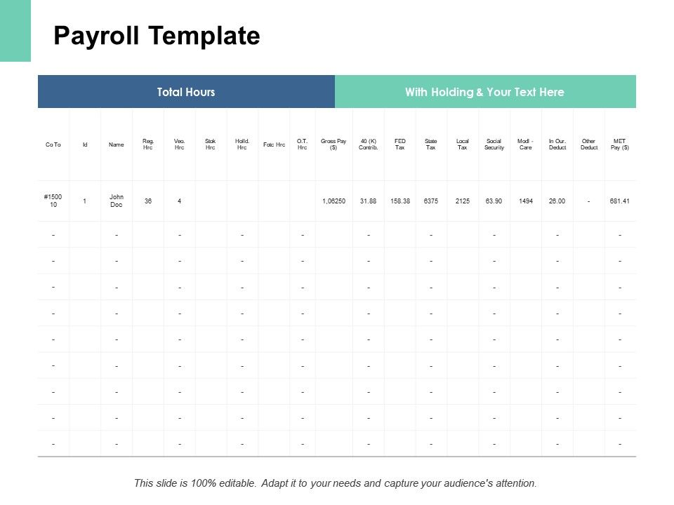 Payroll Template Table Ppt Powerpoint Presentation Pictures Slide Download Powerpoint Slide Clipart Example Of Great Ppt Presentations Ppt Graphics
