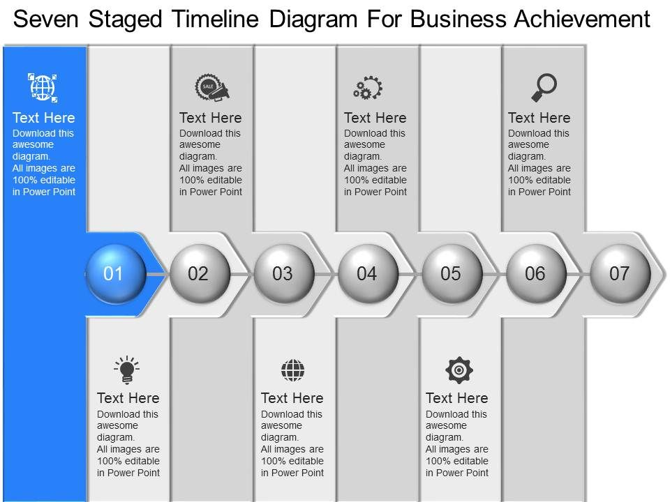 Pc Seven Staged Timeline Diagram For Business Achievement Powerpoint