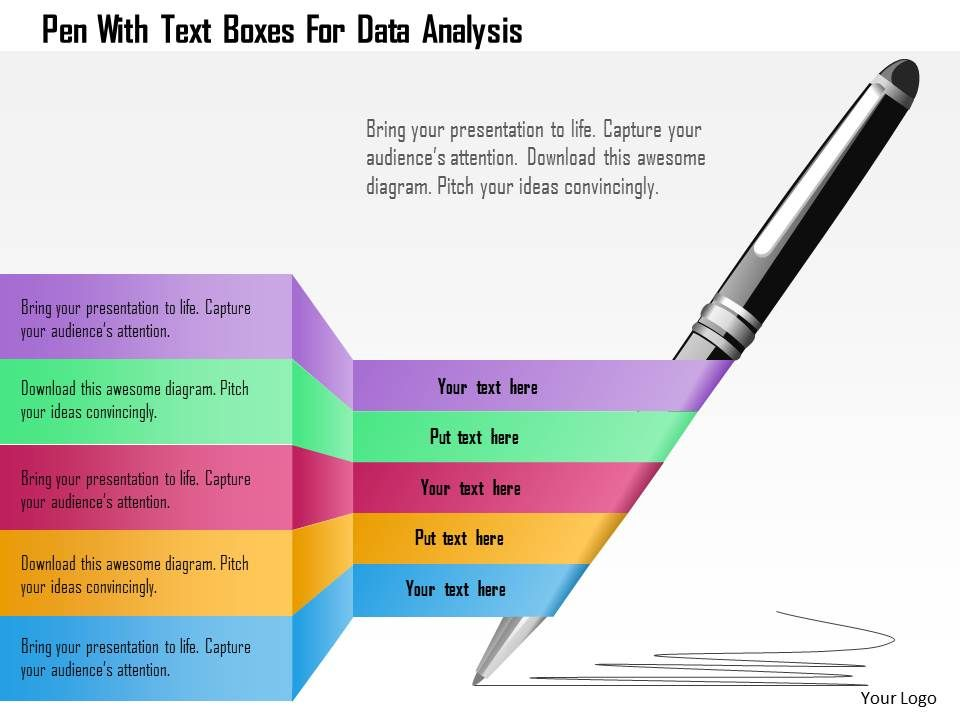 Pen With Text Boxes For Data Analysis Powerpoint Template