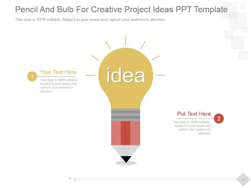 Pencil And Bulb For Creative Project Ideas Ppt Template Slide01 Slide02