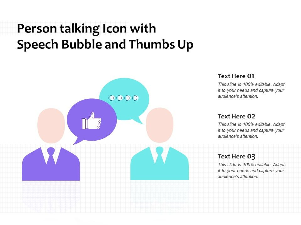 Person Talking Icon With Speech Bubble And Thumbs Up