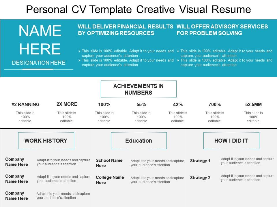 personal cv template creative visual resume presentation graphics
