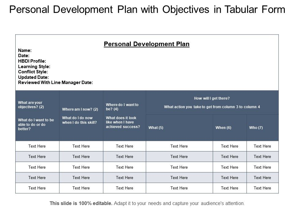 Personal Development Plan With Objectives In Tabular Form ...