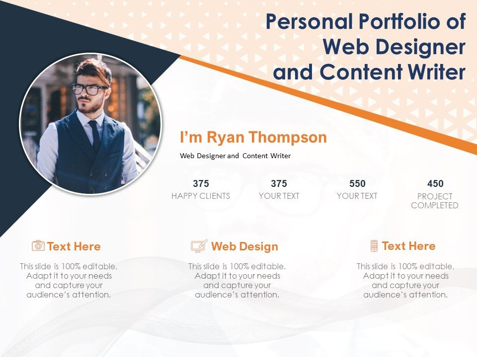 Personal Portfolio Of Web Designer And Content Writer Powerpoint Templates Download Ppt Background Template Graphics Presentation