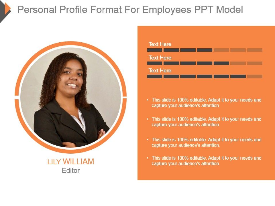 personal profile format for employees ppt model