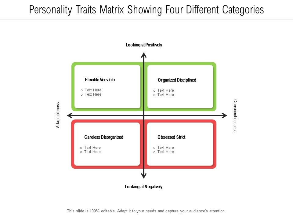 Personality Traits Matrix Showing Four Different Categories