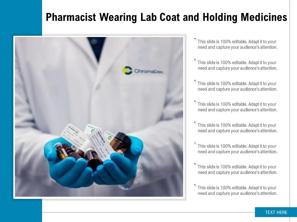 Pharmacist Wearing Lab Coat And Holding Medicines