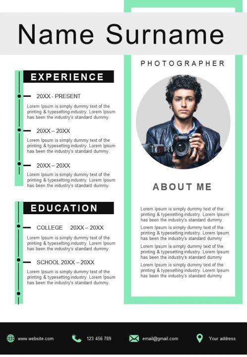 Photographer CV Sample Business Resume A4 Template