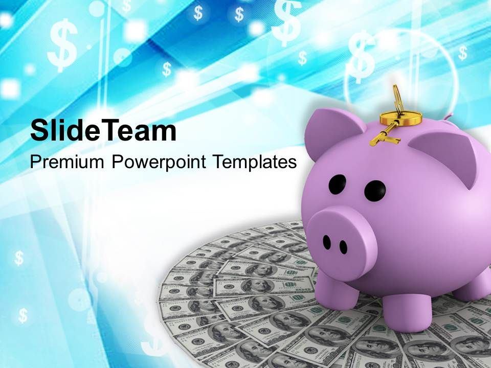 piggy_bank_on_dollar_money_security_powerpoint_templates_ppt_themes_and_graphics_Slide01