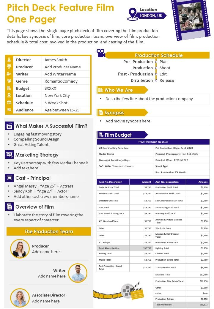 Pitch Deck Feature Film One Pager Presentation Report Infographic PPT PDF Document