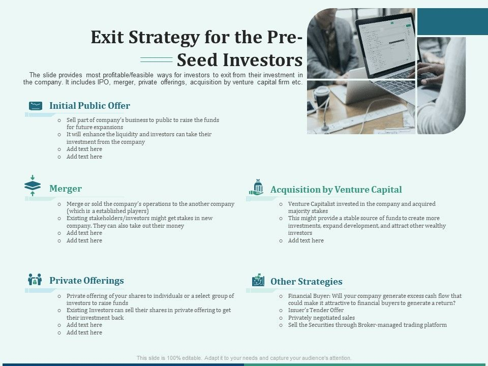 Pitch Deck For Early Stage Funding Exit Strategy For The Pre Seed Investors Ppt Summary