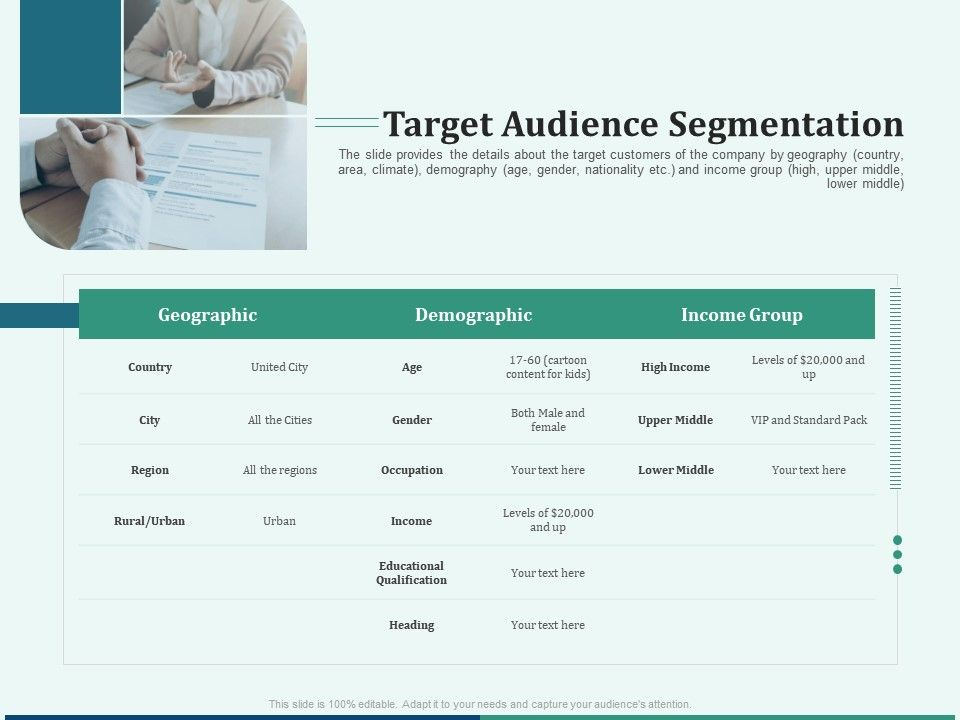 Pitch Deck For Early Stage Funding Target Audience Segmentation Ppt Portfolio Graphics