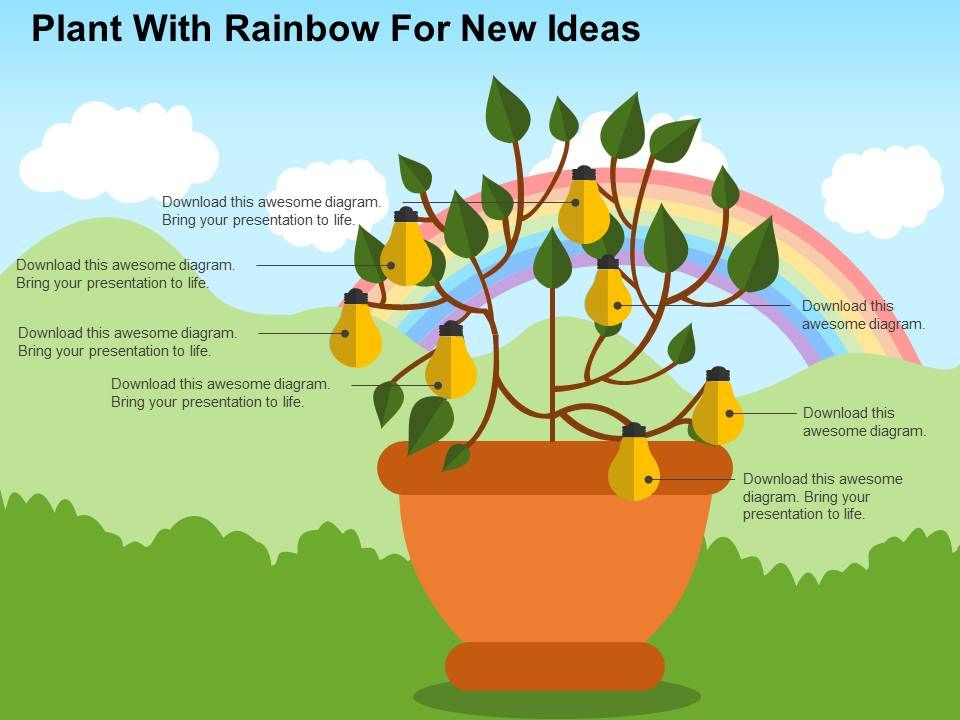 plant_with_rainbow_for_new_ideas_flat_powerpoint_design_Slide01