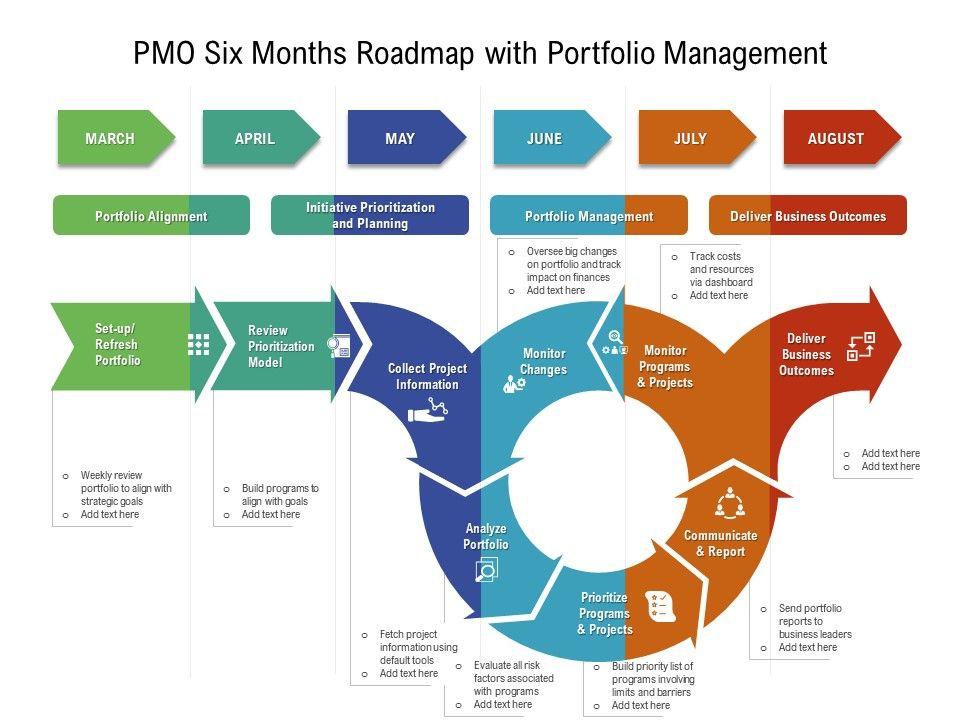 PMO Six Months Roadmap With Portfolio Management