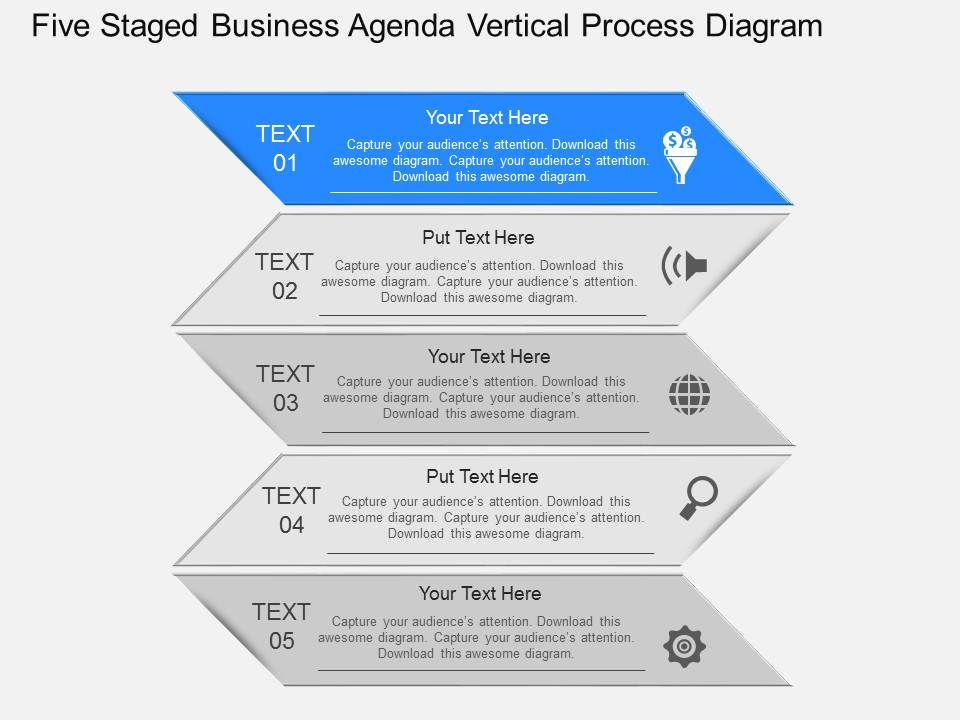 Po Five Staged Business Agenda Vertical Process Diagram Powerpoint