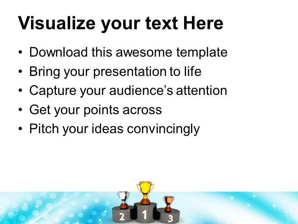 podium with golden silver trophy reward powerpoint templates ppt, Presentation templates