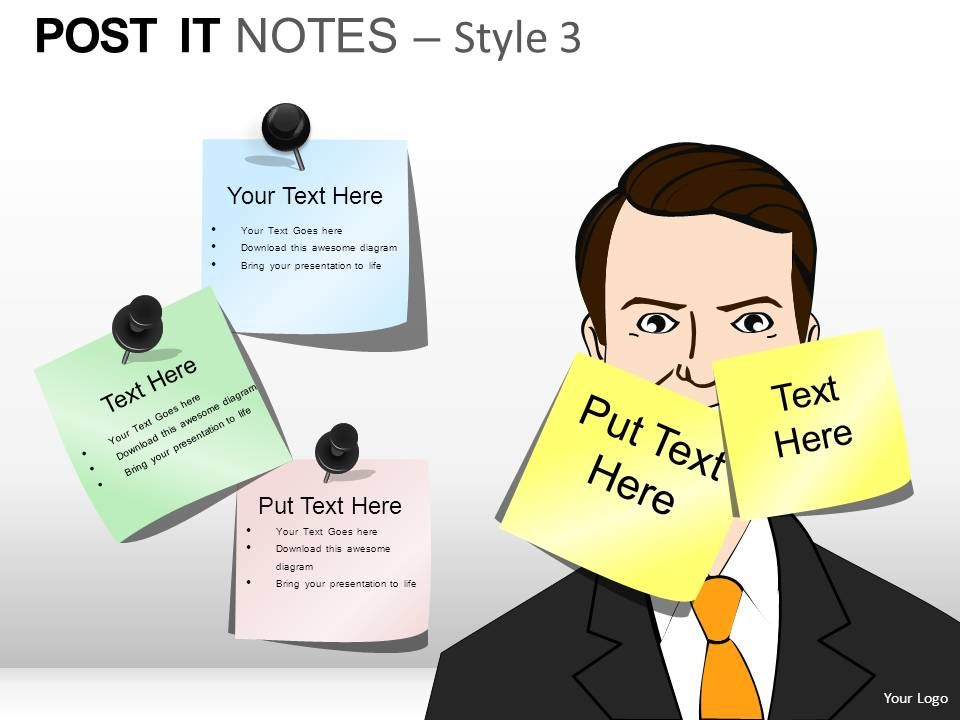 post it notes style 3 powerpoint presentation slides presentation