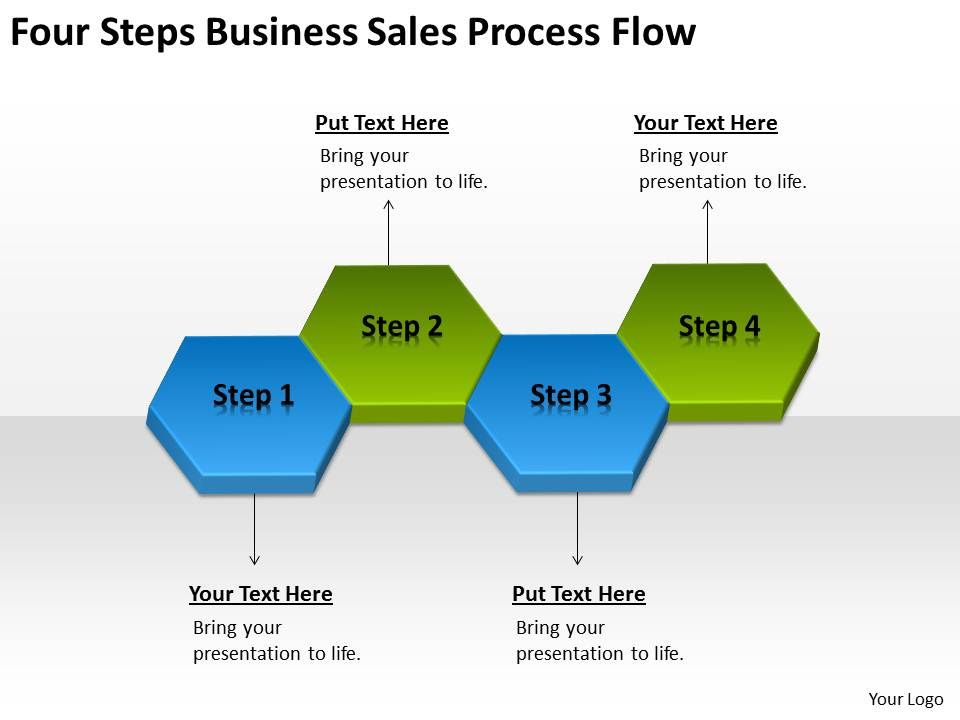 powerpoint for business four steps sales process flow slides 0515