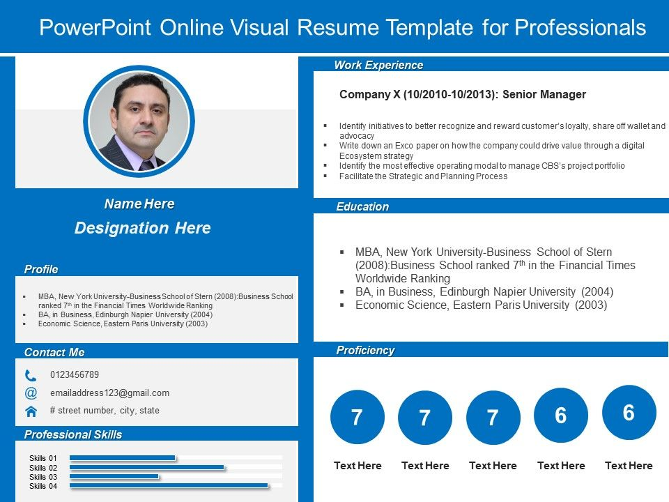 Powerpoint Online Visual Resume Template For Professionals ...